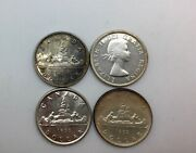 1951wl 1952 Wl 1955 And1956 Canada Lot Of 4 Lustrous Silver Dollar Coins