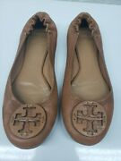 Womens Leather Round Toe Slip On Classic Brown Ballet Flats Size 7 M