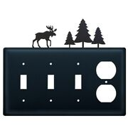 Triple Switch And Duplex Outlet Cover With Moose And Pine Trees Accent, Black