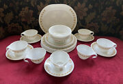 Vintage Corelle Butterfly Gold Dinnerware 29 Pc Very Good 4 Place Settings Plus