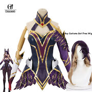 Lol Coven Ahri Cosplay Costume Lol Ahri Jumpsuit Outfit Women Bodysuit+free Wig