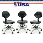 3 Adjustable Stool Dentist Doctor Chair Rolling Stools Black Pu Leather