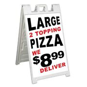 Large 2 Topping Pizza 8.99 Signicade 24x36 Aframe Sidewalk Sign Banner Decal