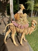 Fontanini Wiseman King Melchior With Gold On Camel Signed By Emanuel Fontanini
