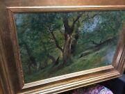 Antique Oil Painting On Canvas By Swiss Artist Gustavo Eugene Castan 1823-1892