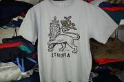 Ethiopia Lion T Shirt Made In Ethiopia Gray Africa Menand039s Large Short 100 Cotton