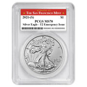 Presale - 2021 S 1 Type 2 American Silver Eagle Pcgs Ms70 Emergency Issue San