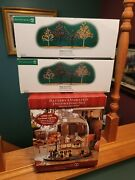 Dept. 56 2004 Snow Village Thanksgiving At Grandmother's House + 2 Autumn Trees