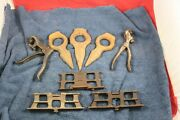 Lot Of Old Logging Type Tools 3 Raker Gauges 3 Log Dogs And 2 Pistol Grip Style Sa