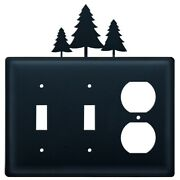 Double Switch And Duplex Outlet Cover With Pine Trees Accent, Black