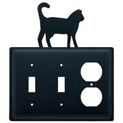 Double Switch And Duplex Outlet Cover With Cat Accent, Black