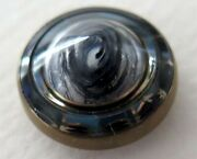 Small Antique Dug Button - Blue Gold And White Design Under Glass