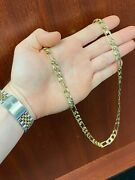 Menand039s 10kt Yellow Gold Square Figaro Chain 8mm 45.3g 22 - Vwg Solo 2