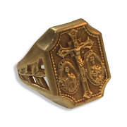 Vintage Jesus Mary And St. Joseph Pray For Us Gold Ring Size 5 - 11