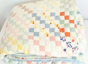 Vintage Postage Stamp Quilt Farmhouse Patchwork Cutter Quality Well Worn