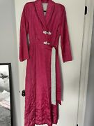 M 1940s Magenta Hot Pink Quilted Asian Silk Embroidered Dressing Gown Vintage