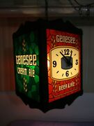 Vintage Genesee Beer Ale Revolving Hanging Clock Light Faux Stained Glass Sign