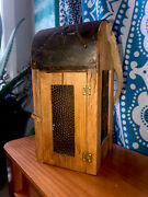 Antique Wood Punched Tin Glass Barn Lantern Lamp Candle Holder