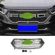 For Ford Edge 2015-2018 Matte Gray Front Center Mesh Grille Grill Cover Trim 1pc