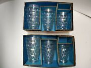 6 Federal Glass Iridescent Tumblers Thumbprint Pattern Vintage