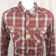 Nwt Bke Mens Pearl Snap Button Shirt Large Red White Plaid Long Sleeve Standard