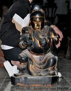 Tibet Old Wood Lacquerware Gilt Carved Guan Gong Guan Yu God Reading Book Statue