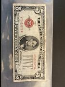 1928-f 5 United States Note - Five Dollar Us Red Seal Lightly Traveled 🇺🇸