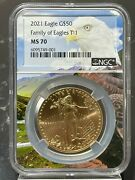 2021 50 Gold American Eagle Type 1 Ngc Ms 70 Eagle Core 50 Known
