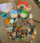 Huge Lot Of Playmobil People Pool House Store Stage Girl Boat Plants Home