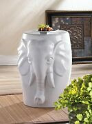 White Ceramic Elephant Decorative Stool Side Table End Plant Stand Garden Patio