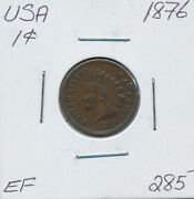 Usa Indian Head Small Cent 1876 - Ef