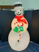 Vintage 40 Union Products Dimple Snowman Blow Mold Christmas Red Scarf