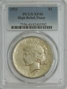 1921 Peace Silver Dollar High Relief Xf40 Pcgs 944442-2