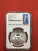 2016-canada-5 Superman Coin- 1oz.9999 Silver-ms 69-first Day Of Issue