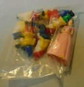 Cake Topper Snow White, 12 Items Plastic Around 3-2 Tall, In Package, Vintage