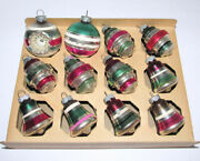 12 Striped Shiny Brite Feather Ornaments Glass Bells Lanterns Indent Round