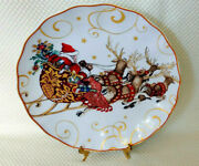 Williams Sonoma Twas The Night Before Christmas Santa And Reindeer Dinner Plate