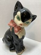 Vintage Royal Copley Cat Black And White Figaro Cat W/ Pink Bow Figurine 7.5 Tall