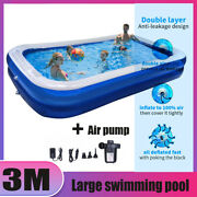 3m Inflatable Swimming Pool Above Ground Pool W/ Air Pump Kids Family Outdoor Us