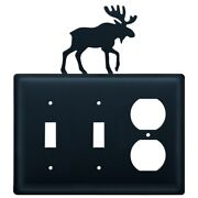 Double Switch And Duplex Outlet Cover With Moose Accent, Black