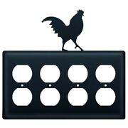 Quad Duplex Outlet Cover With Metal Rooster Accent, Black