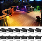 12 Pack Solar Deck Lights Outdoor Waterproof Led With 2 Lighting Modes Warm Whi