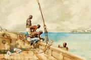 Art-print-the-conch-divers-homer-55x37in-horizontal-image-on-paper-canvas-coast