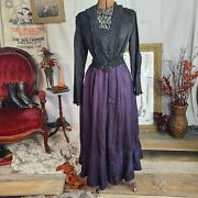 Witchy Edwardian Antique Victorian Black Silk Purple Lace Bodice Dress As Is 🧙andzwj