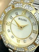 Bulova Womenand039s Watch 98l135 Two Tone Crystal Accent Mop Dial Stainless Steel