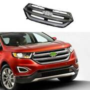 For Ford Edge 2015-2018 Chrome Front Center Mesh Grille Grill Cover Trim 1pcs