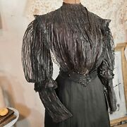 Antique Puff Sleeve 1890s Unique Striped Blouse Bodice Black Striped Chantilly