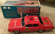 Sears Battery Operated Nonstop Action Fire Chief Car Tin Japan Original Box
