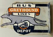 Greyhound Flange Sign-very Rare And Beautiful Sign-super Glossy. Heavy Steel