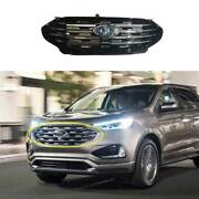 For Ford Edge 2019-21 Paint Black Front Center Mesh Grille Grill Cover Trim 1pcs